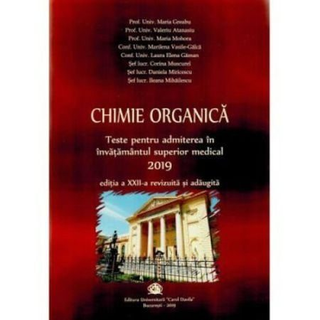 Chimie organica 2019 Carol Davila - Teste pentru admitere in invatamantul superior medical